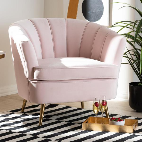 Baxton Studio Emeline Light Pink And Gold Fabric Accent Chair-157-9789-HD - The Home Depot