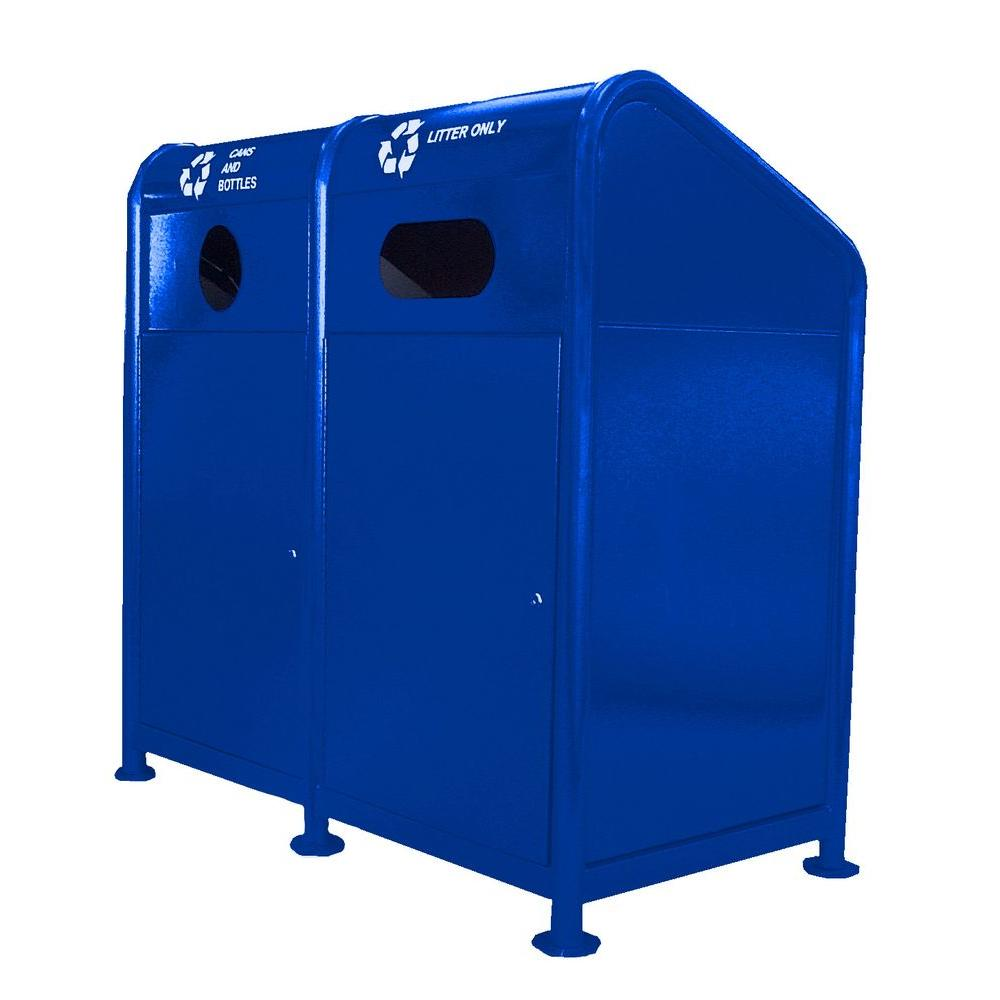 68 Gal. Steel Recycling Station in Blue