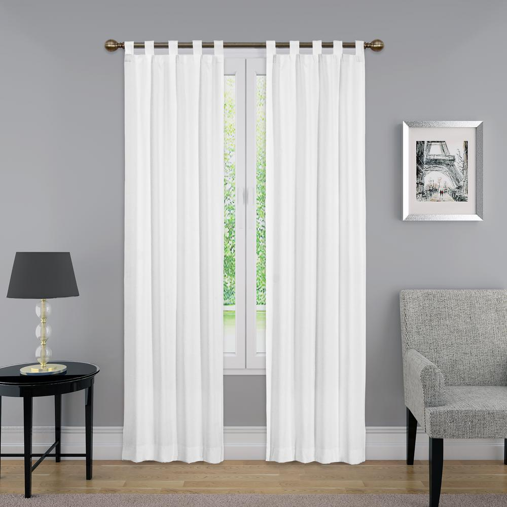 84 in. L Light Filtering White Poly/Cotton Tab Top Curtain Panel