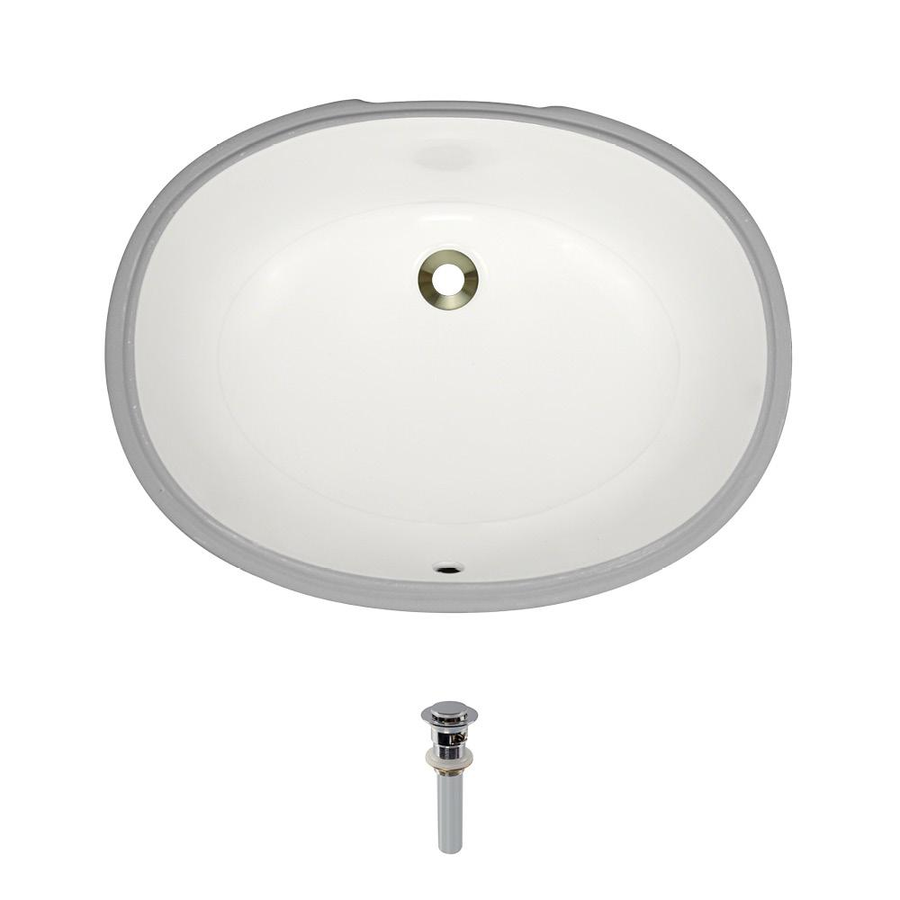 MR Direct Undermount Porcelain Bathroom Sink in Bisque with Pop-Up Drain in Chrome
