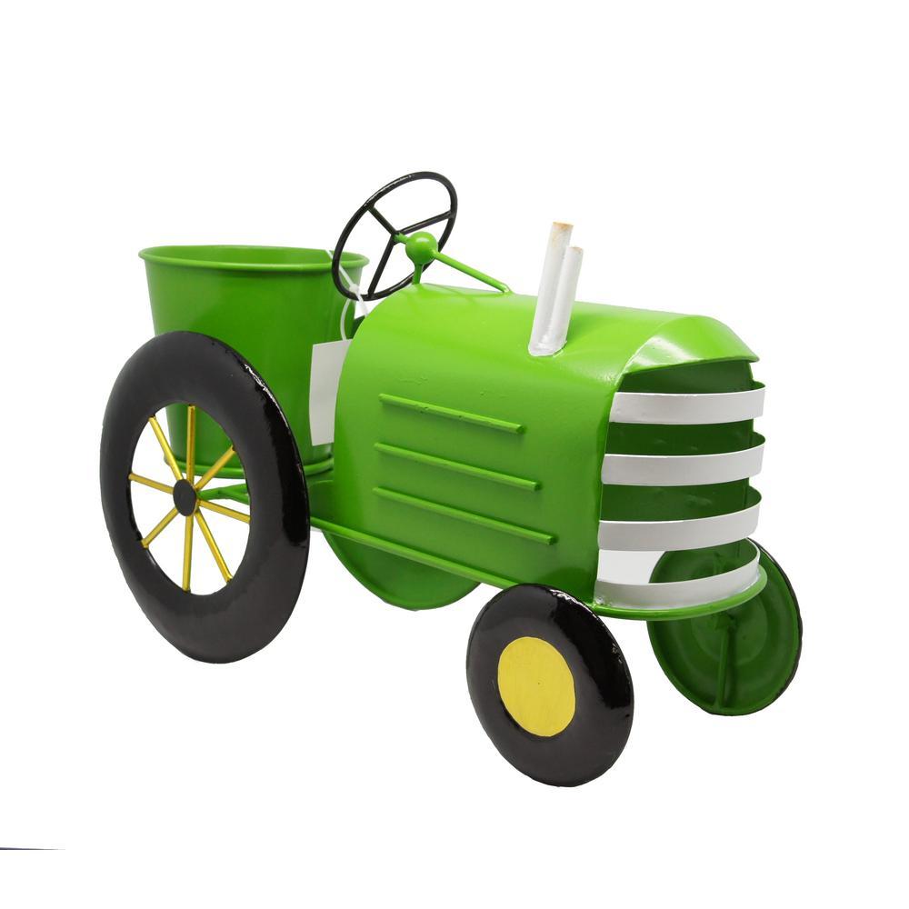 alpine metal lime green tractor metal planter lyt272gn. Black Bedroom Furniture Sets. Home Design Ideas