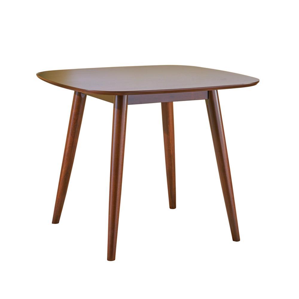Wynonna Mid-Century Modern Square Walnut Faux Wood Dining Table