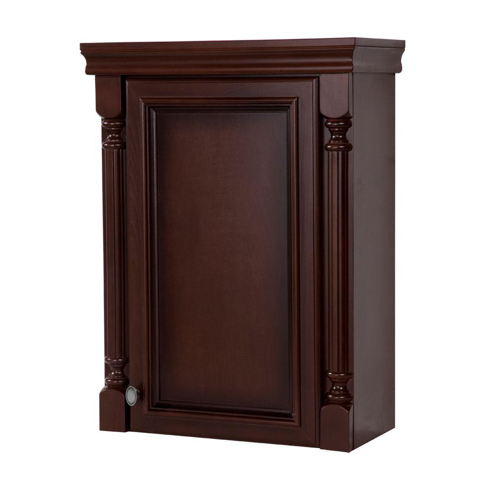 St. Paul Valencia 21-1/2 in. W x 26 in. H x 9 in. D Over the Toilet Bathroom Storage Wall Cabinet in Glazed Hazelnut