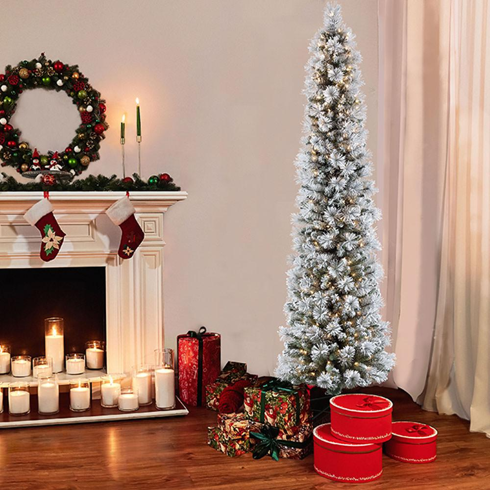 K On Christmas.Puleo International 7 5 Ft Pre Lit Incandescent Flocked Pencil Portland Pine Artificial Christmas Tree With 350 Ul Listed Clear Lights