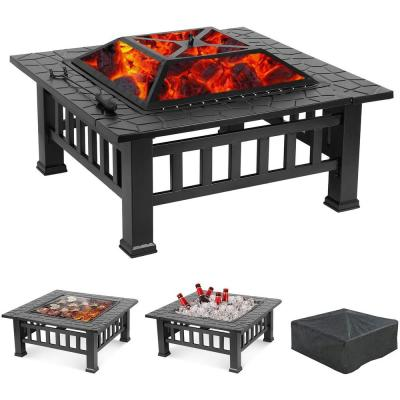 Maxwell 31.8 in. W x 18 in. H Square Steel Wood Black Burning Fire Pit with Poker and Cover