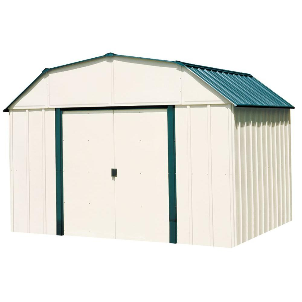 Arrow Sheridan 10 ft. W x 8 ft. D 2-Tone White and Green Galvanized Metal Barn Style Storage Shed