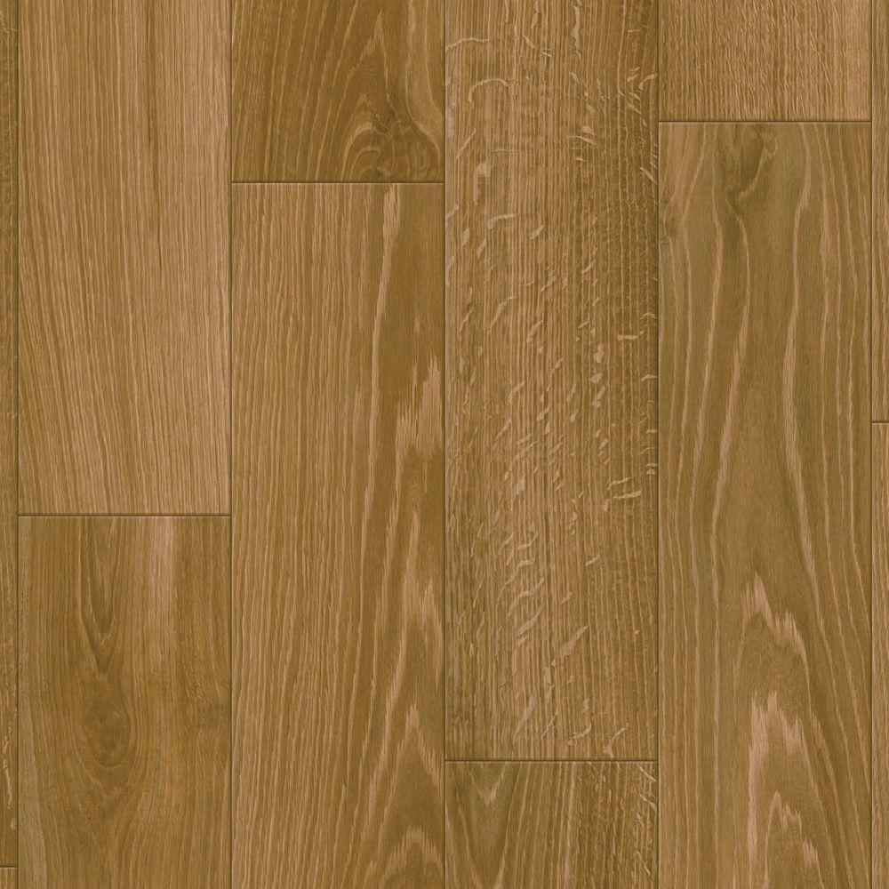 Take Home Sample - Haven Oak Golden Brown Vinyl Sheet Flooring - 6 in. x 9 in.