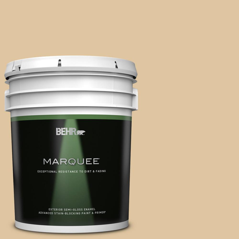 Behr Marquee 5 Gal 320e 3 Riviera Sand Semi Gloss Enamel Exterior Paint And Primer In One 545405 The Home Depot