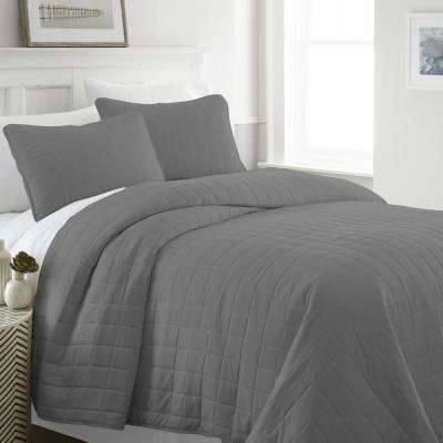 Square Gray Queen Performance Quilted Coverlet Set