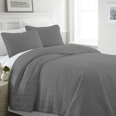 Square Gray Twin Performance Quilted Coverlet Set