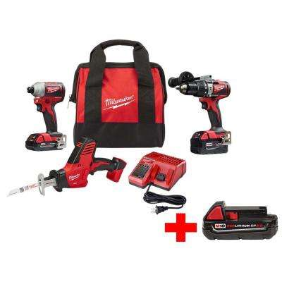 M18 18-Volt Lithium-Ion Brushless Cordless Hammer Drill/Impact Combo Kit W/ Free M18 HACKZALL & 2.0 Ah Battery