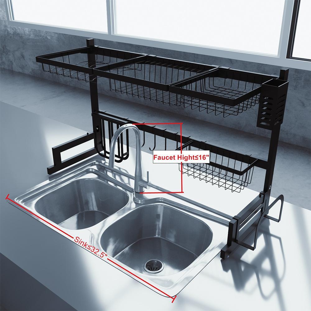 Boyel Living Over The Sink Dish Drying Rack Veckle Large Dish Rack Stainless Steel Dish Drainer Non Slip Dish Dryer Utensil Holder Tk191001 1 The Home Depot