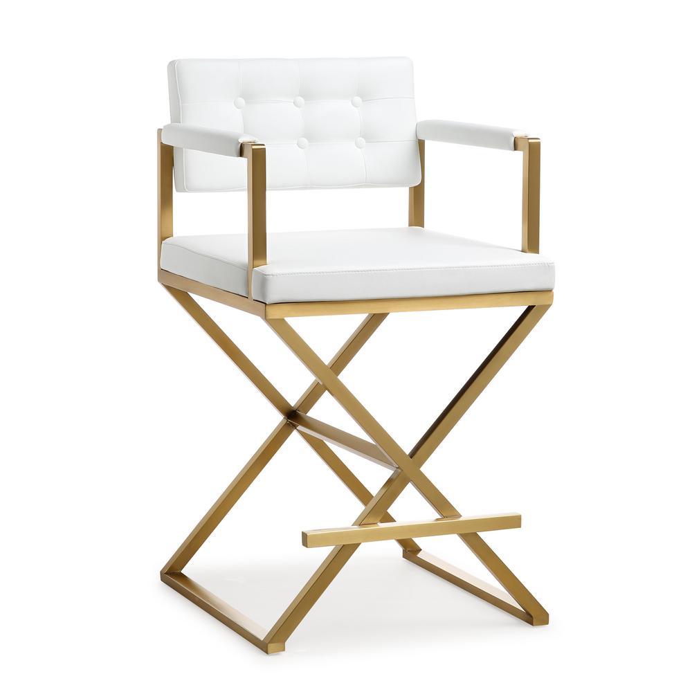 Tov Furniture Director White Gold Steel Counter Stool Tov