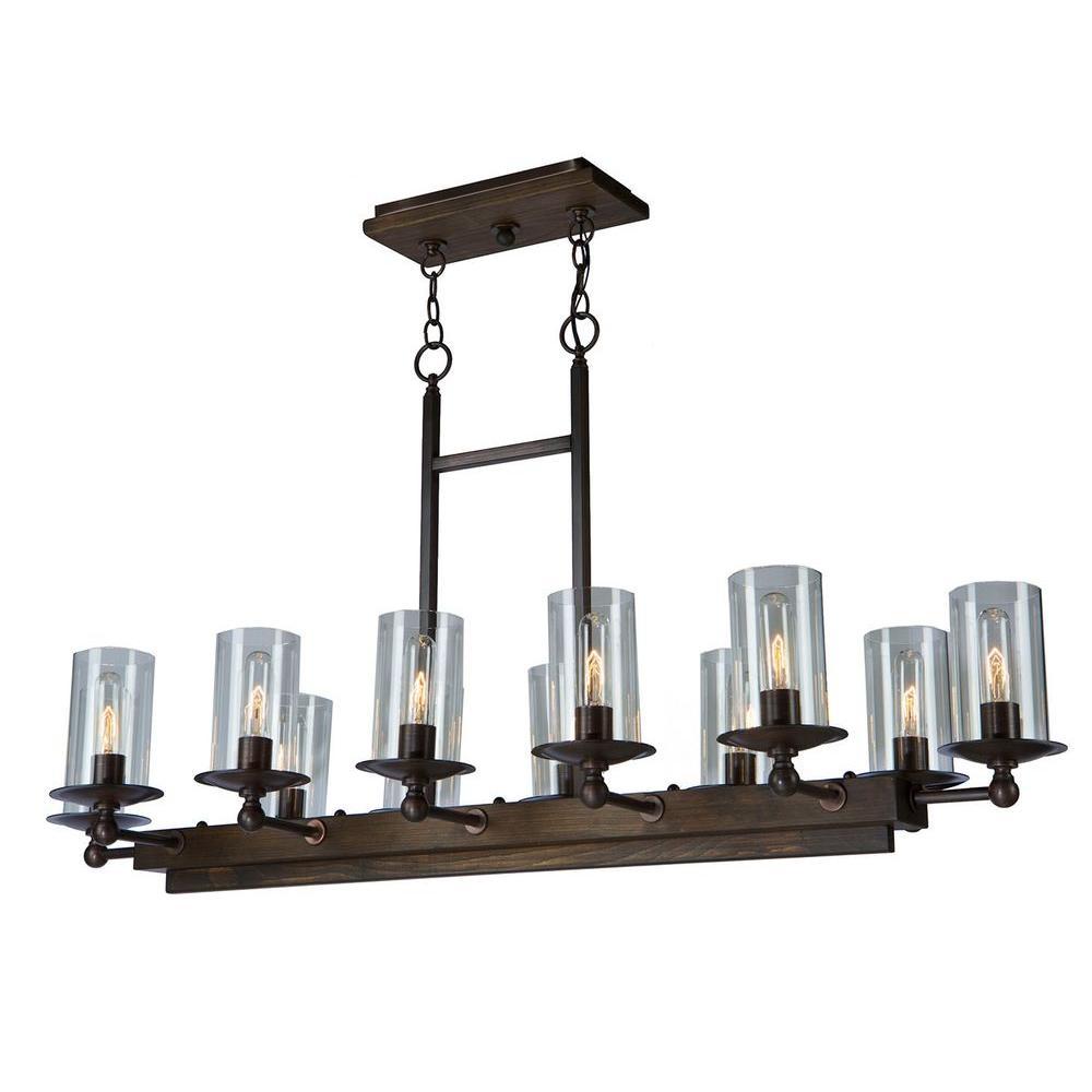 Legno Rustico 12-Light Brunito Bronze Island Light