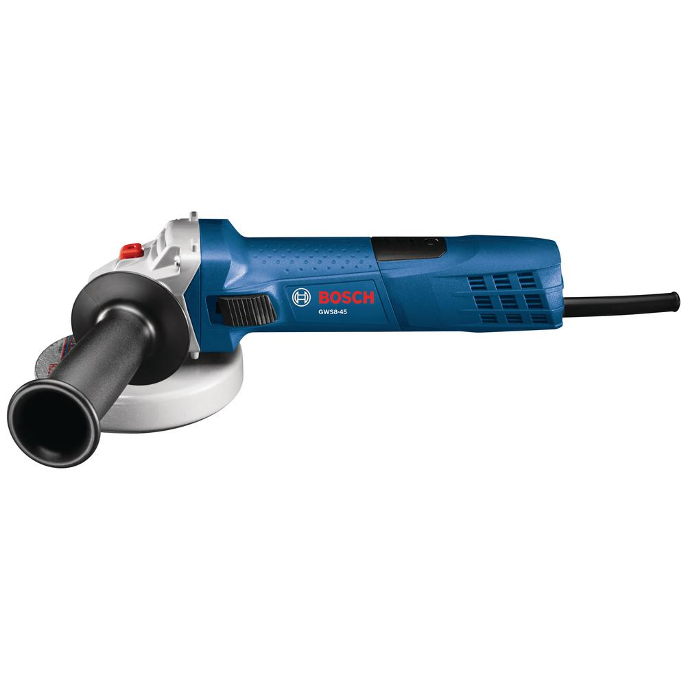 Bosch 7 5 Amp Corded 4 1 2 In Angle Grinder With Lock On Slide Switch Gws8 45 The Home Depot