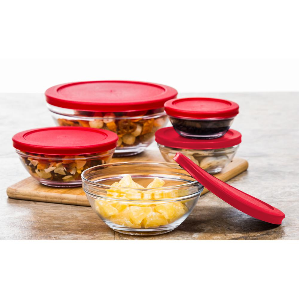 10-Piece Glass Bowls Set with Red Lids