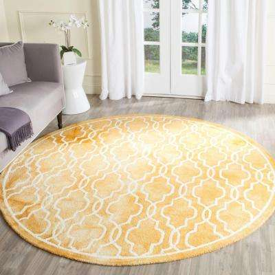 Dip Dye Gold Ivory 7 Ft X Round Area Rug