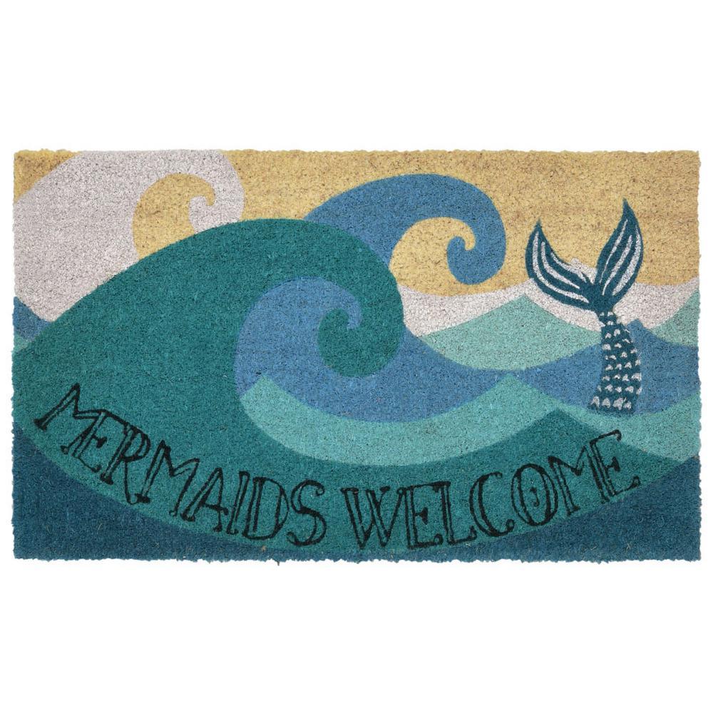 Liora Manne Natura Mermaids Welcome Ocean 24 in. x 36 in. Outdoor Mat