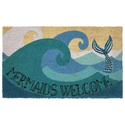 Natura Mermaids Welcome Ocean 24 in. x 36 in. Outdoor Mat