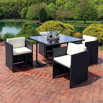 Miliani Black 5-Piece Metal Patio Conversation Set with Beige Cushions