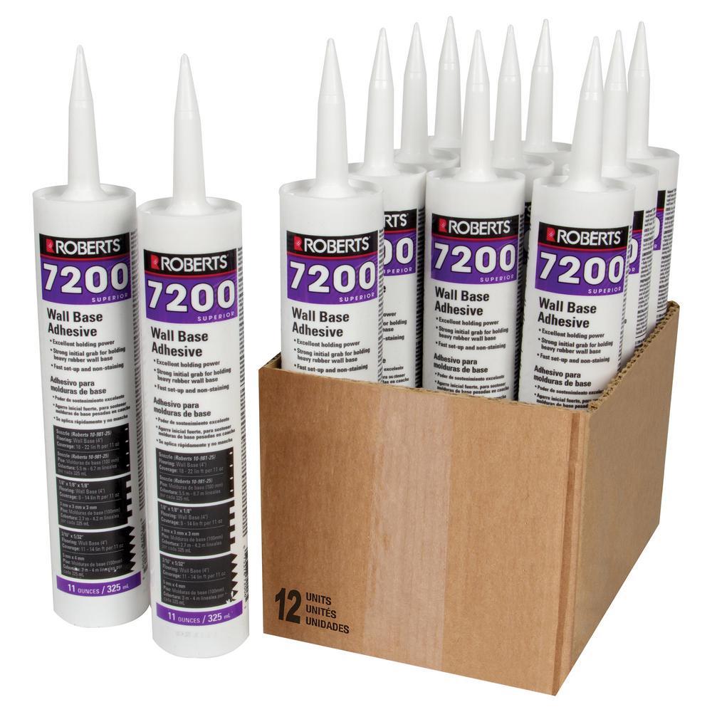 Roberts 7200 11 fl. oz. Wall and Cove Base Adhesive in Cartridge Tube (12-Pack)