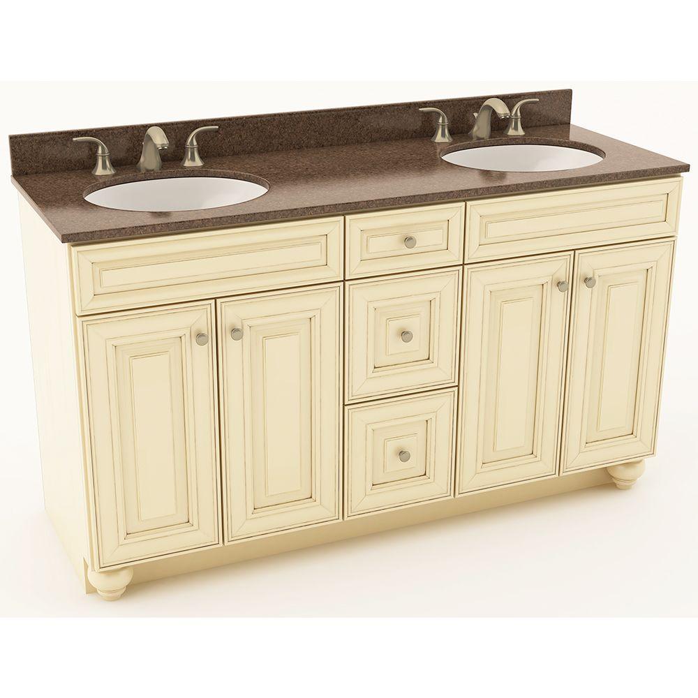 American Woodmark 61 inch W x 20-3/4 inch D Bath Vanity in Hazelnut with Quartz Vanity Top in Iron Bark with Oval White... by American Woodmark