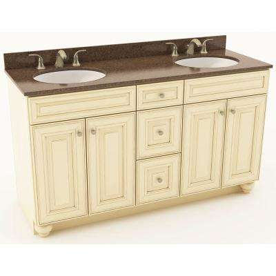 61 in. W x 20-3/4 in. D Bath Vanity in Hazelnut with Quartz Vanity Top in Iron Bark with Oval White Double Basins