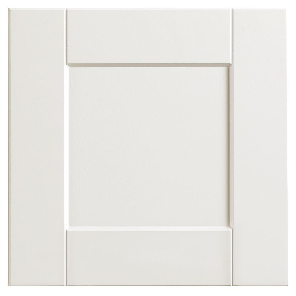 Hampton Bay 12.75x12.75 in. Cabinet Door Sample in Shaker Satin White