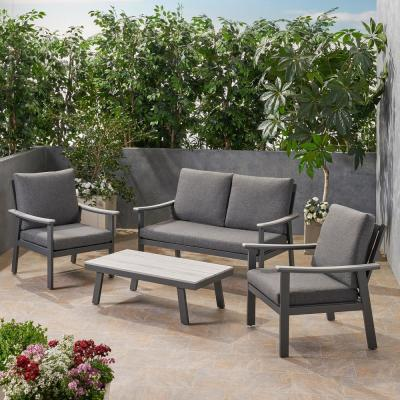 Noble House Sinclair Grey 4-Piece Aluminum and Faux Wood Patio Conversation Set with Dark Grey Cushions