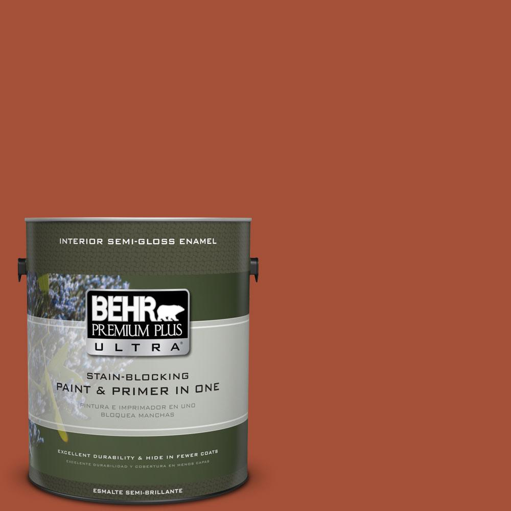 BEHR Premium Plus Ultra 1-gal. #S-H-210 New Penny Semi-Gloss Enamel Interior Paint