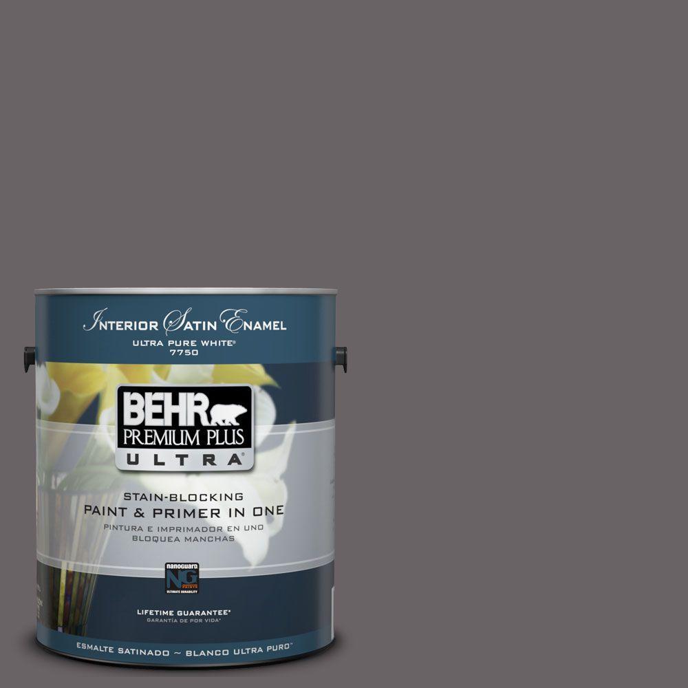 BEHR Premium Plus Ultra 1-Gal. #UL250-1 Arabian Veil Interior Satin Enamel Paint