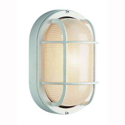 Bulkhead 1-Light Outdoor White Wall or Ceiling Mounted Fixture with Frosted Glass