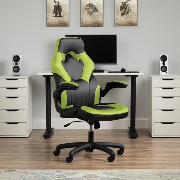 Ofm Essentials Collection Racing Style Bonded Leather Gaming Chair In Green Ess 3085 Grn Ess 3085 Grn The Home Depot