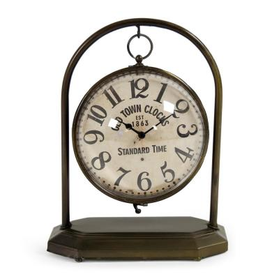 Pendulum Sphered Distressed Gold Table Clock