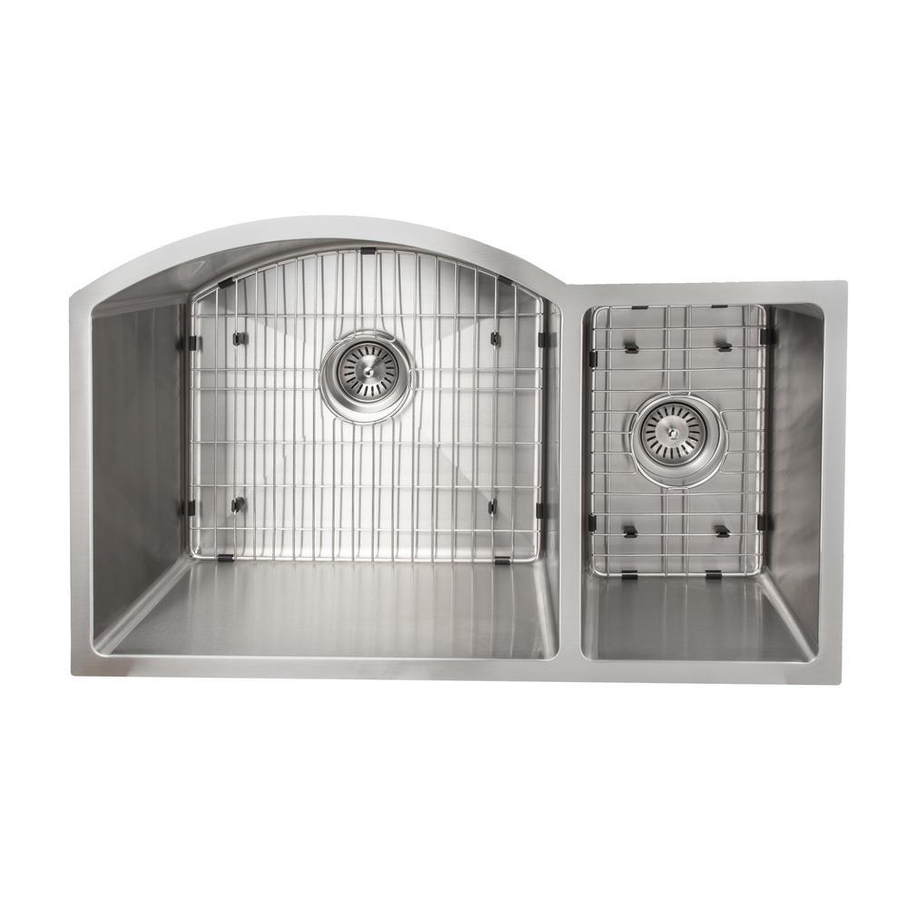 Gateway Series 33 in. Undermount Double Bowl Kitchen Sink in Stainless Steel