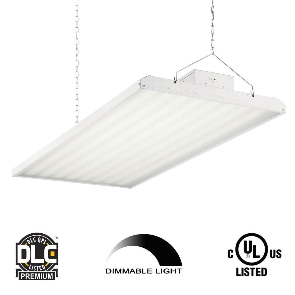 424-Watt 4 ft. White Integrated LED Backlit High Bay Hanging Light with 55,078 Lumens