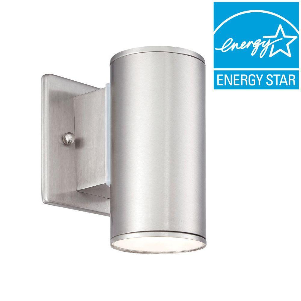 Barrow 4 in. Satin Platinum LED Wall Lantern