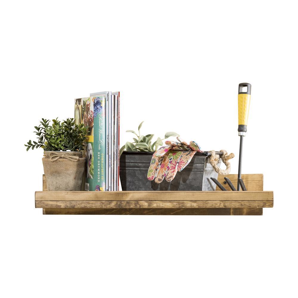 Rustic Luxe 24 in. W x 10 in. D Floating Dark Walnut Decorative Shelf