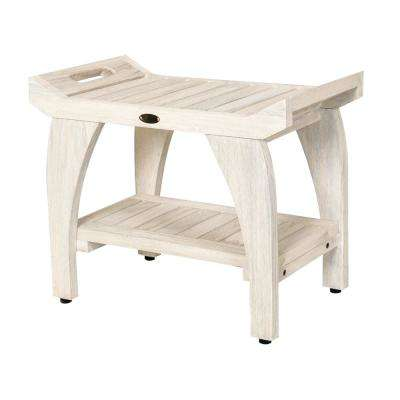 White Wash Tranquility 24 in. Teak Eastern Style Shower Bench with Shelf