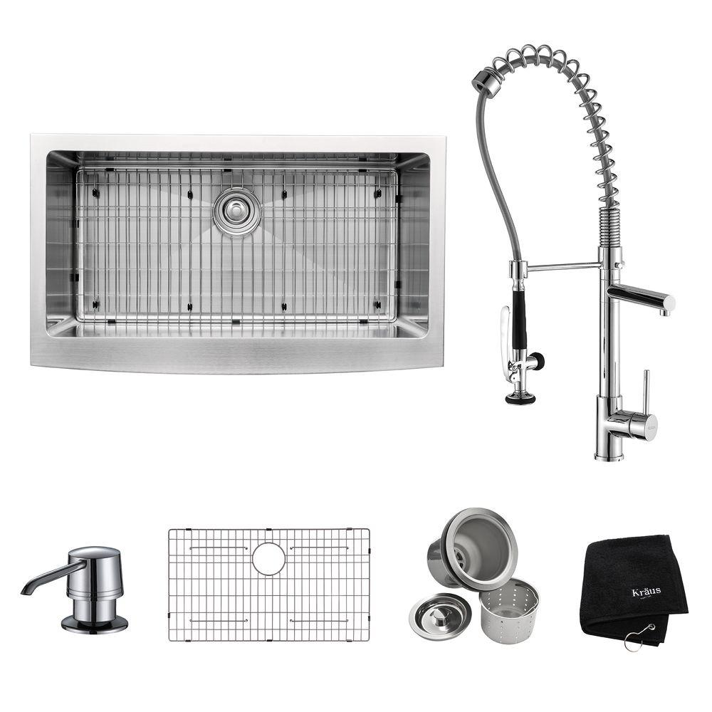 KRAUS All-in-One Farmhouse Apron Front Stainless Steel 36 in. Single Bowl Kitchen Sink with Faucet and Accessories in Chrome