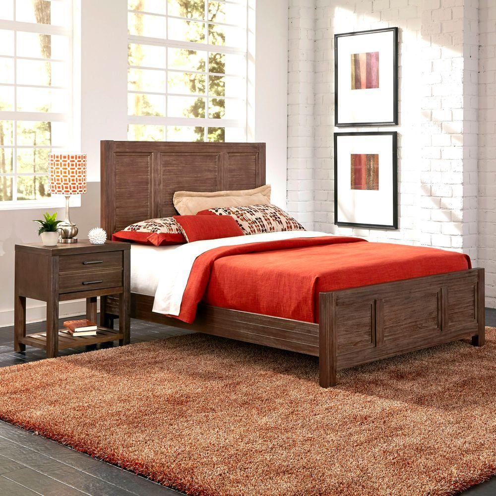 Home Styles Barnside King Bed Set and Nightstand (2-Piece) Set in Aged Finish