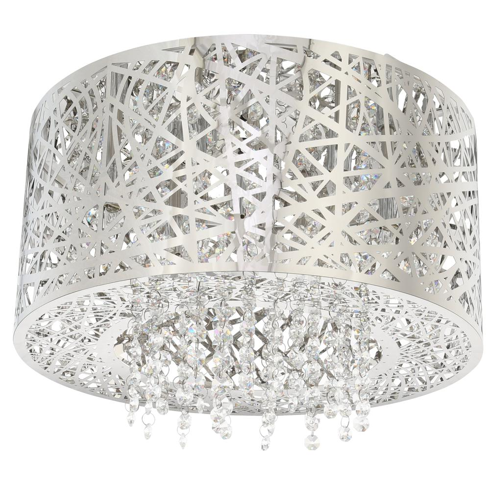 Home decorators collection 15 75 in 7 light stainless steel flush mount with laser cut mirrored shade and crystal drops