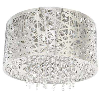 15.75 in. 7-Light Stainless Steel Flush Mount with Laser Cut Mirrored Shade and Crystal Drops