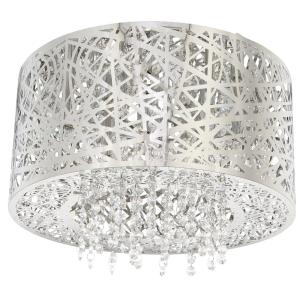 Home Decorators Collection 15.75 inch 7-Light Stainless Steel Flushmount with Laser Cut Mirrored Shade and Crystal Drops by Home Decorators Collection