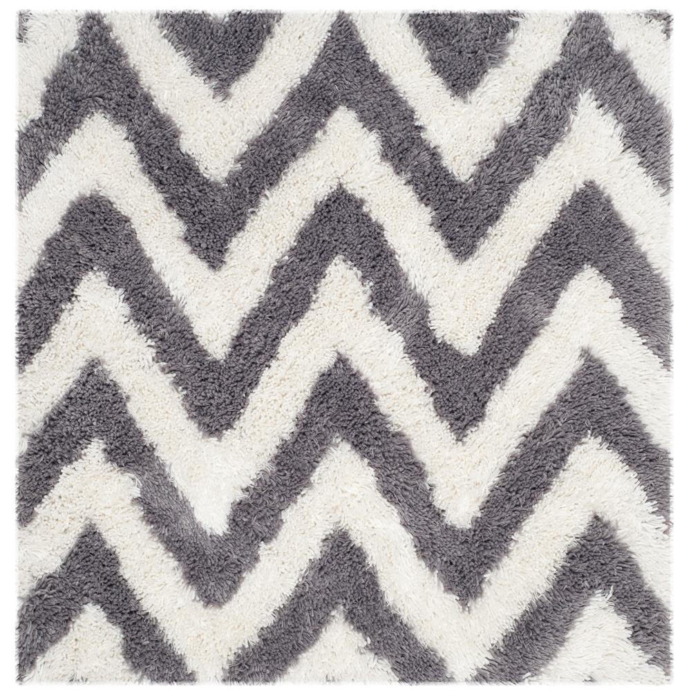 Chevron Shag Ivory/Gray 7 ft. x 7 ft. Square Area Rug