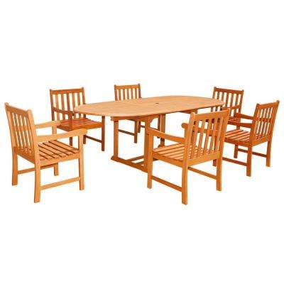 Eco-Friendly 7-Piece Wood Outdoor Dining Set with Oval Extension Table