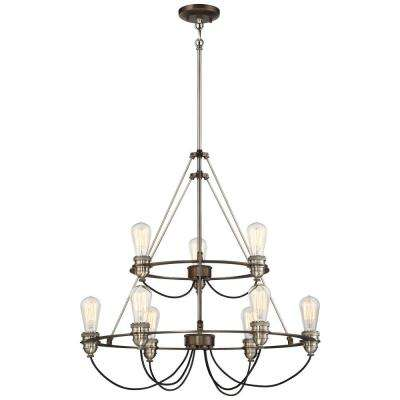 Uptown Edison 9-Light Harvard Court Bronze Chandelier