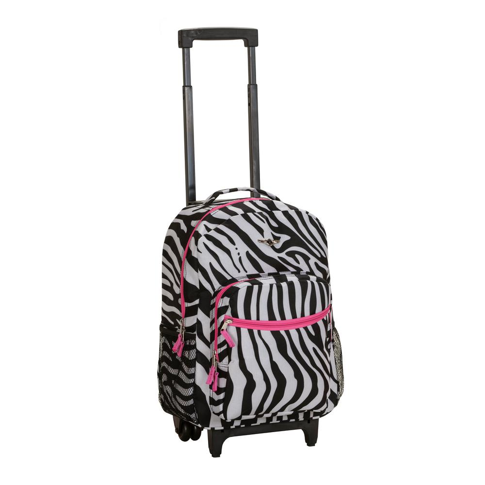Rockland 17 in. Black and White Rolling Backpack-R01-PINKZEBRA ...