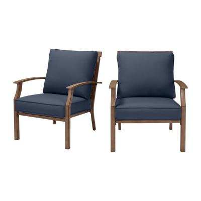 Geneva Brown Wicker and Metal Outdoor Patio Lounge Chair with CushionGuard Sky Blue Cushions (2-Pack)
