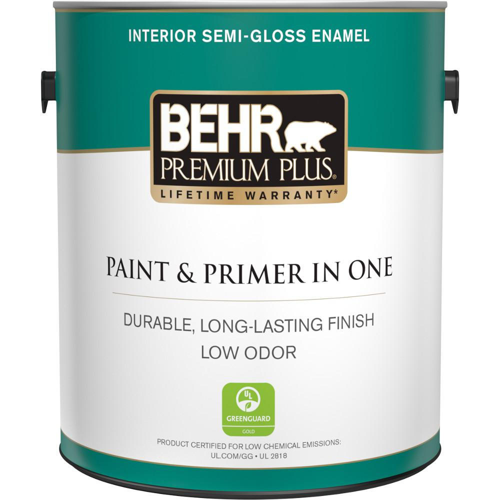 BEHR Premium Plus 1 gal. Ultra Pure White Semi-Gloss Enamel Low Odor Interior Paint and Primer in One